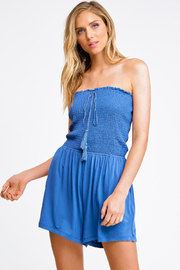 MONTREZ SMOCKED STRAPLESS PLAYSUIT - Product Mini Image