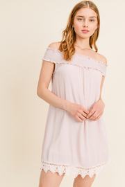 MONTREZ SMOCKED STRAPPED CROCHET DETAIL DRESS - Product Mini Image