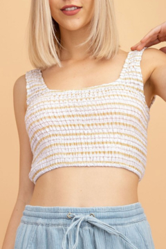Le Lis Smocked Stripe Cropped Top - Product List Image