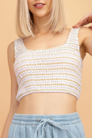 Le Lis Smocked Stripe Cropped Top - Product Mini Image