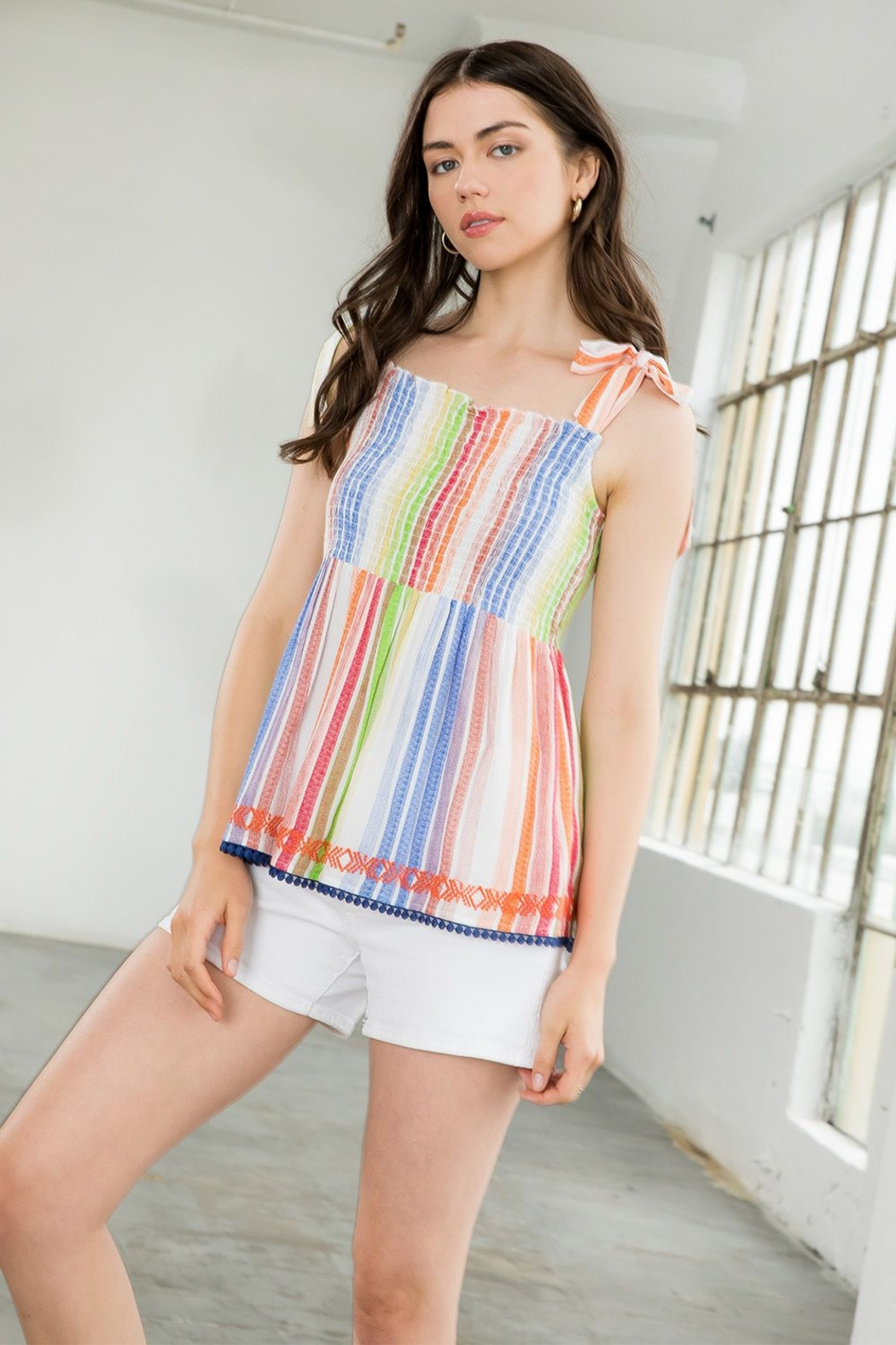 Thml Smocked Striped Multicolor Top - Front Cropped Image