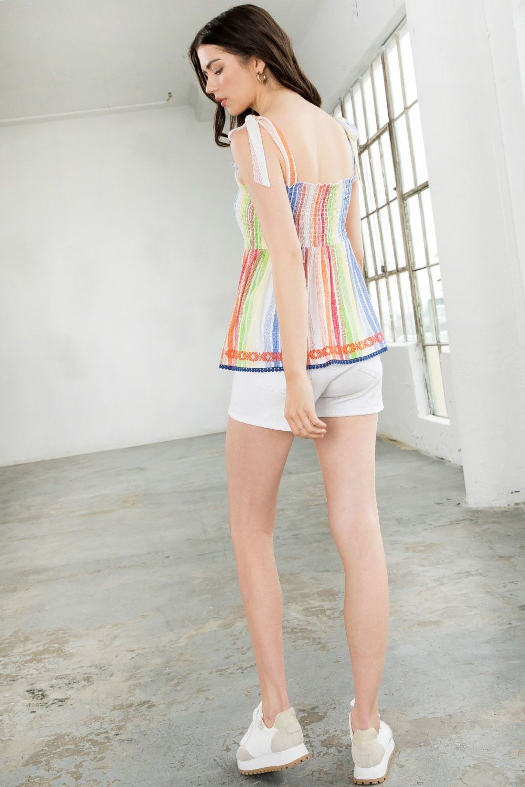 Thml Smocked Striped Multicolor Top - Side Cropped Image