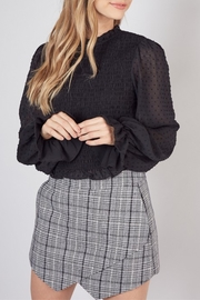 Do & Be Smocked Swiss Dot Blouse - Front cropped