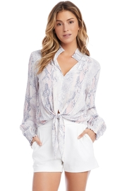 Fifteen Twenty Smocked Tie Bottom Printed Blouse - Front cropped