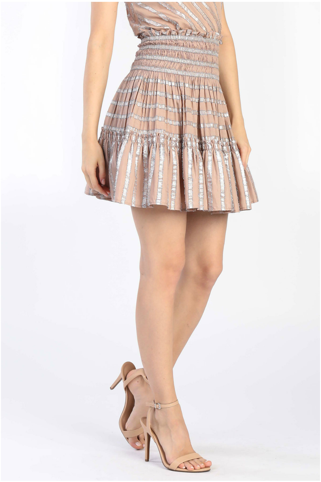 Current Air Smocked tiered short skirt - Main Image