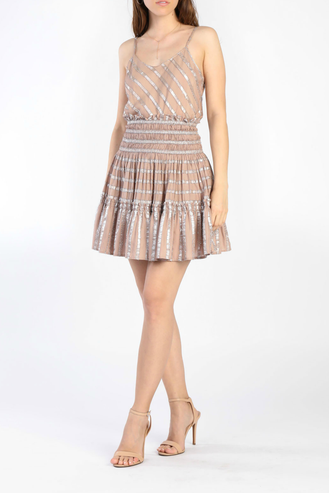 Current Air Smocked tiered short skirt - Side Cropped Image