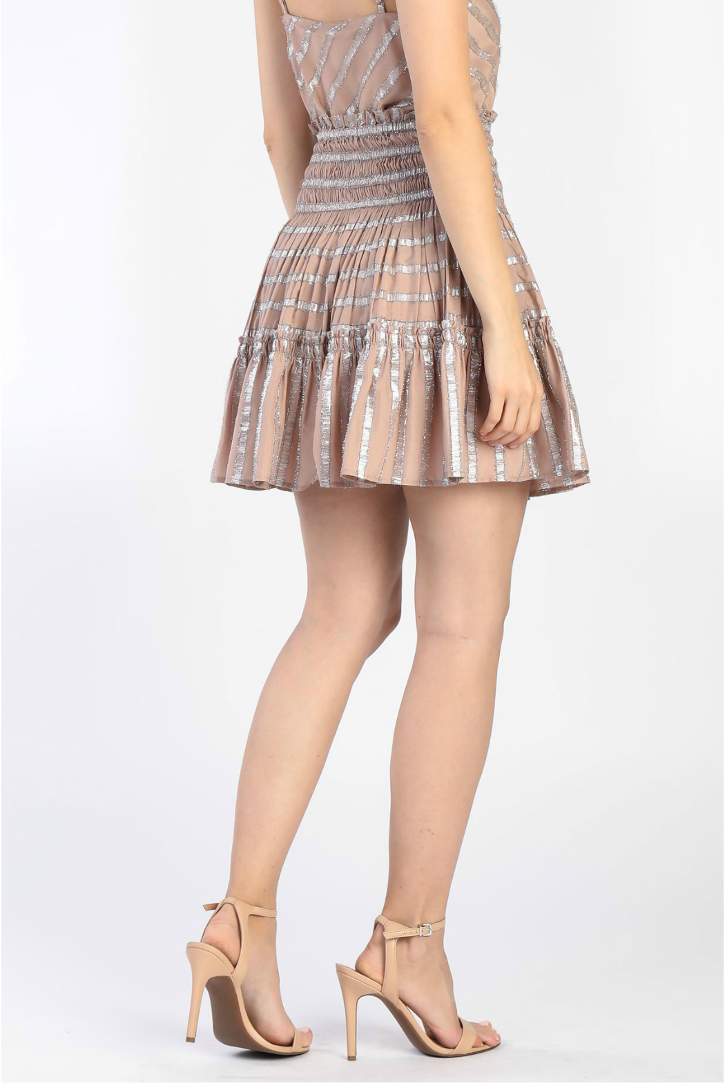 Current Air Smocked tiered short skirt - Front Full Image