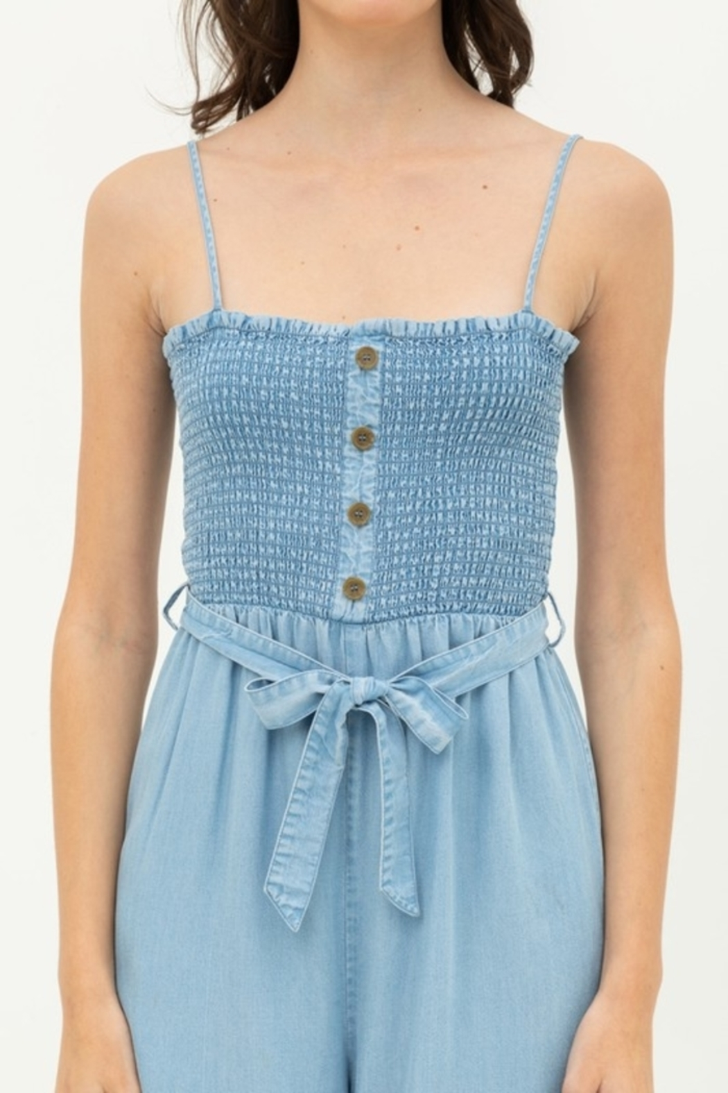 Love Tree  Smocked Top Jumpsuit - Front Full Image