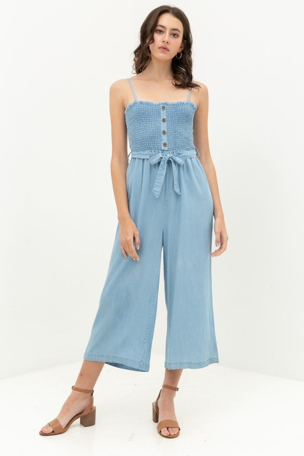 Love Tree  Smocked Top Jumpsuit - Front Cropped Image