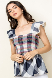Thml Smocked Top with Ruffle Sleeves - Front full body