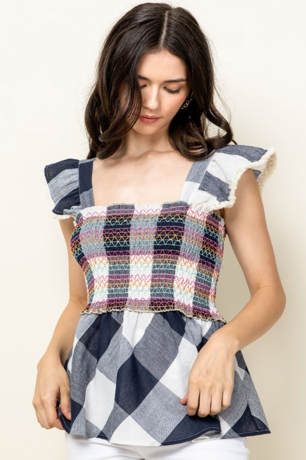 Thml Smocked Top with Ruffle Sleeves - Main Image
