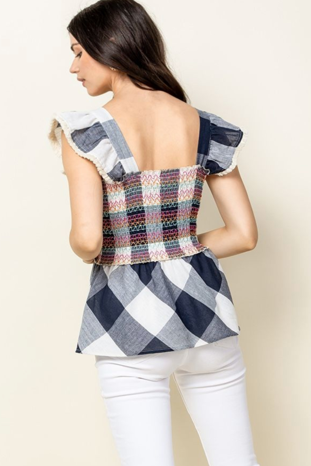 Thml Smocked Top with Ruffle Sleeves - Side Cropped Image