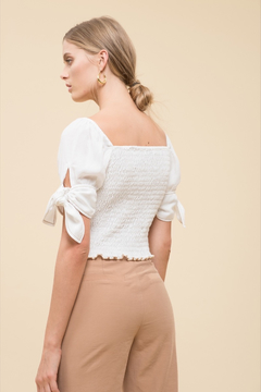 Moon River Smocked Top with Sleeve Tie - Product List Image