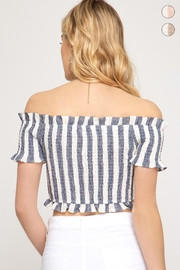 She + Sky Smocked Tube Top - Front full body