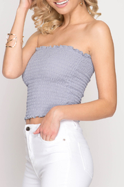 She+Sky Smocked Tube Top - Front cropped