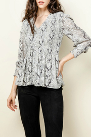 Thml Smocked V-Neck Print Top - Product Mini Image