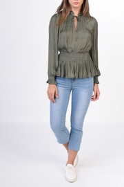 Current Air Smocked Waist & Collar V Neck Blouse - Product Mini Image