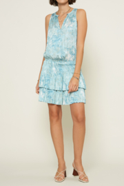 Current Air Smocked Waist Keyhole Halter Top Mini Dress - Front cropped