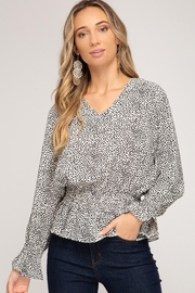 She and Sky Smocked Waist & Slv Polka dot Blouse - Product Mini Image