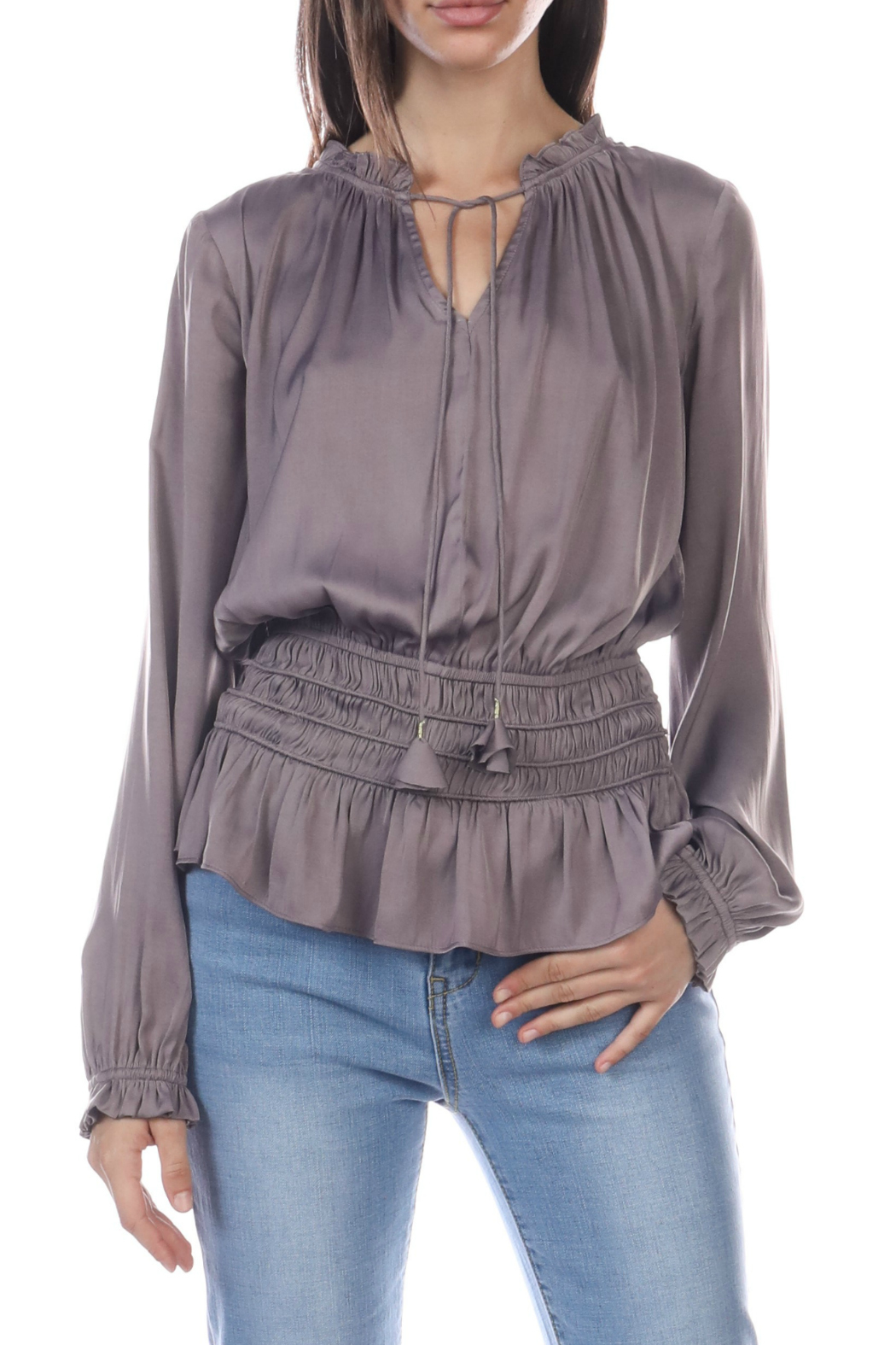 Current Air Smocked Waist Tie Front Blouse - Main Image