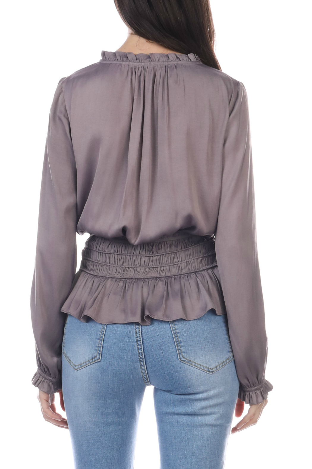 Current Air Smocked Waist Tie Front Blouse - Front Full Image