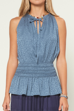 Current Air  Smocked Waist Tonal Leopard Top - Product List Image