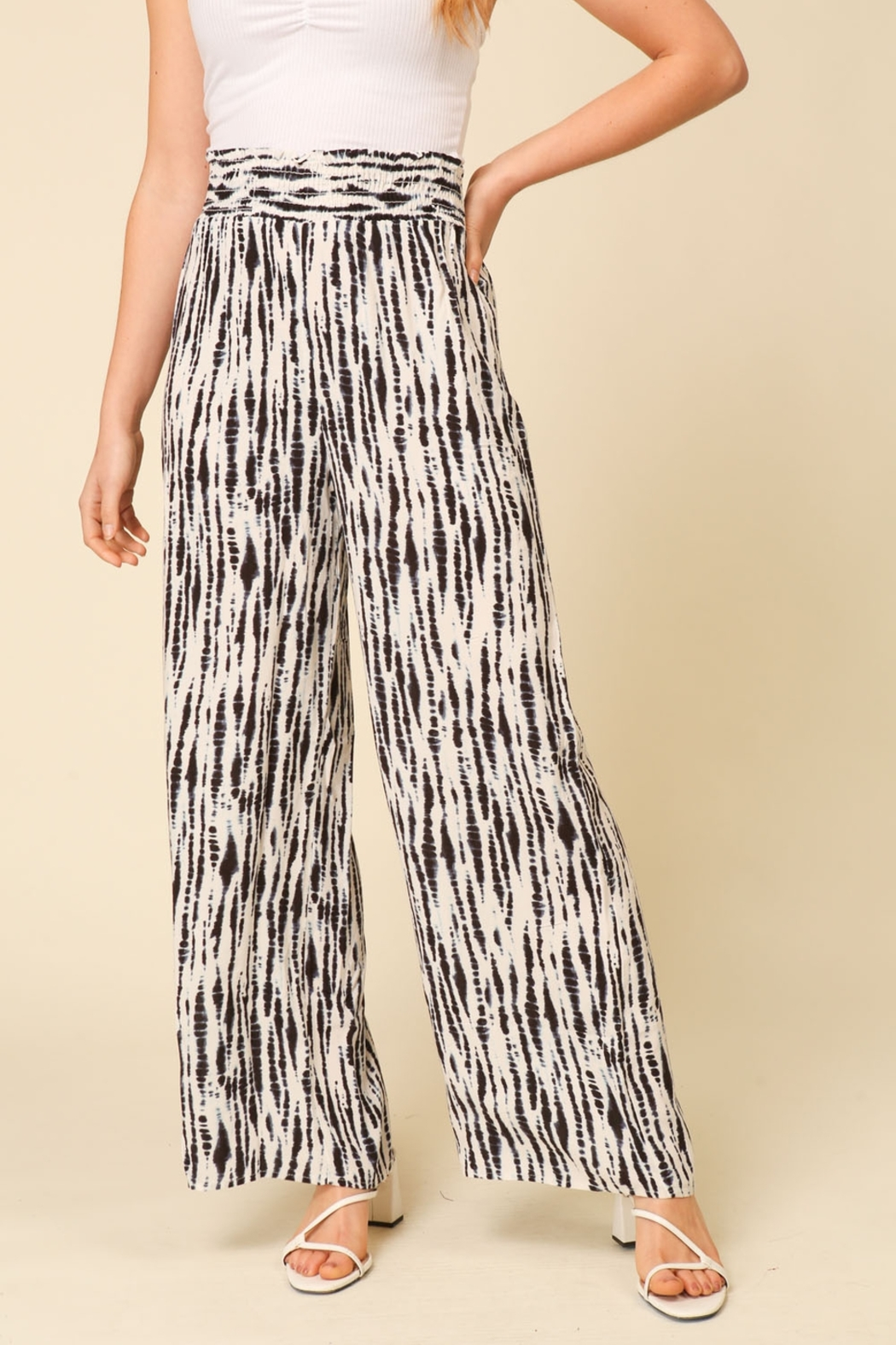 Lyn -Maree's Smocked, Wide Leg Pants - Front Cropped Image