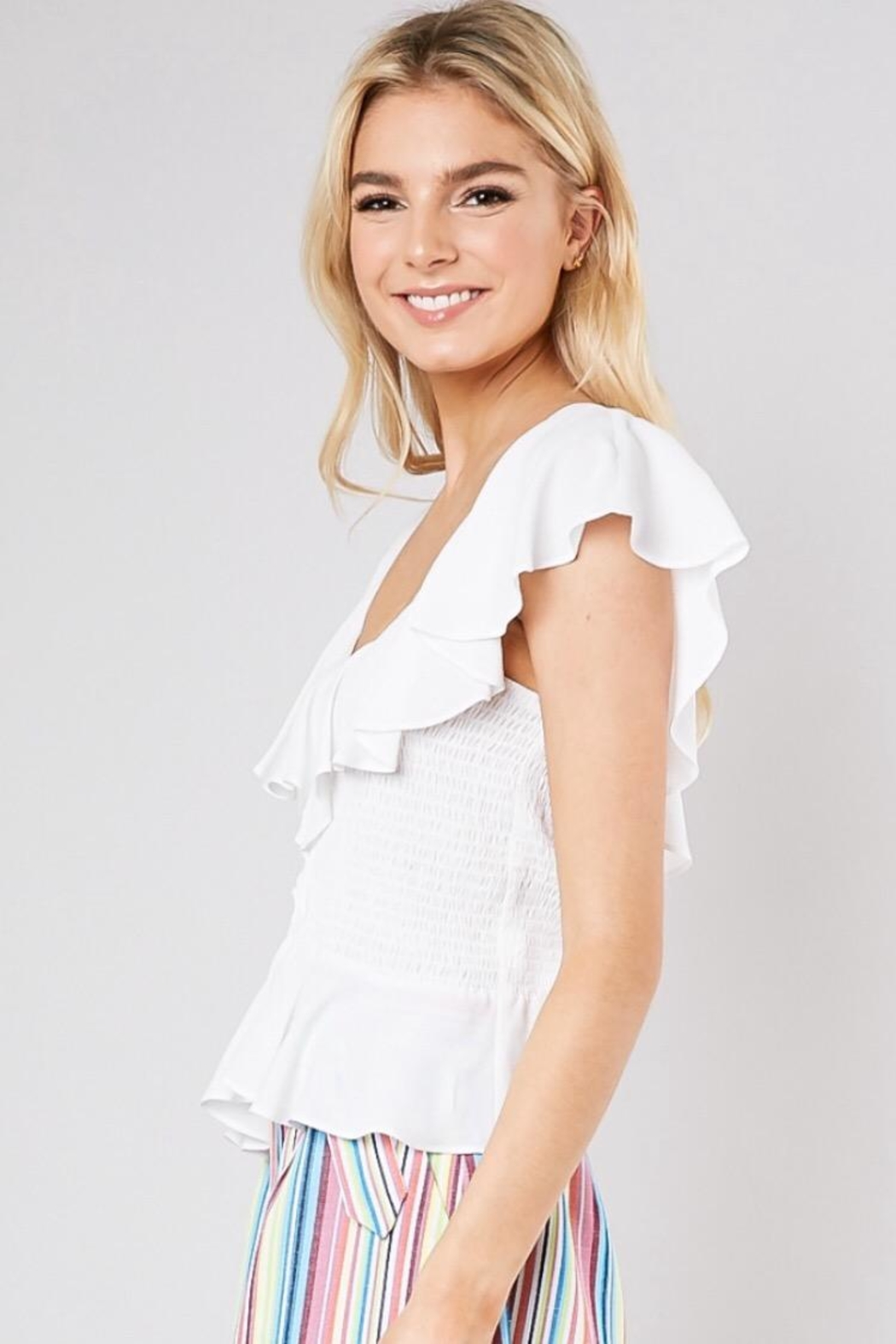 Do & Be Smocking Waist Top - Front Full Image