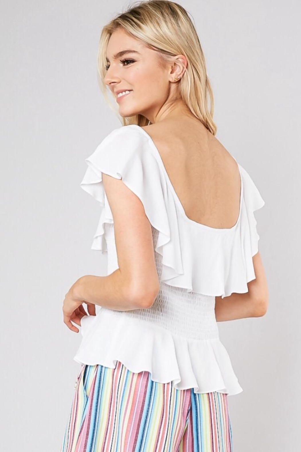 Do & Be Smocking Waist Top - Side Cropped Image