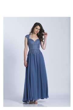 DAVE & JOHNNY Smoke Blue Gown - Product List Image