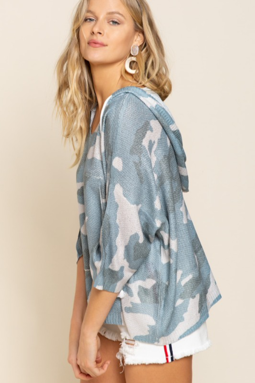 POL  Smoky Blue Camo Oversized Hoodie - Front Full Image
