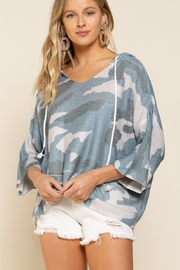 POL  Smoky Blue Camo Oversized Hoodie - Front cropped