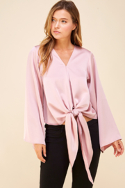 Pinch Smooth as Silk Tie Front Blouse - Product Mini Image