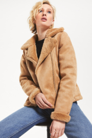 rag poets Smythson Suede Faux Fur Jacket - Product Mini Image