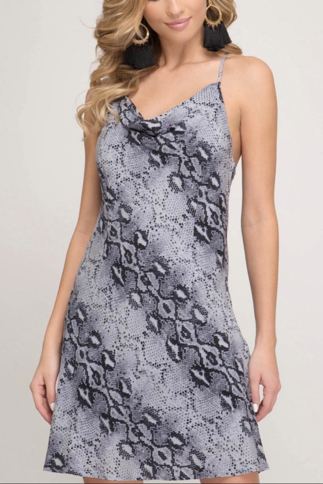 She + Sky Snake Cami Dress - Front Cropped Image