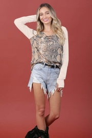 Blue Buttercup Snake Colorblock Contrast-Trim Top - Front full body