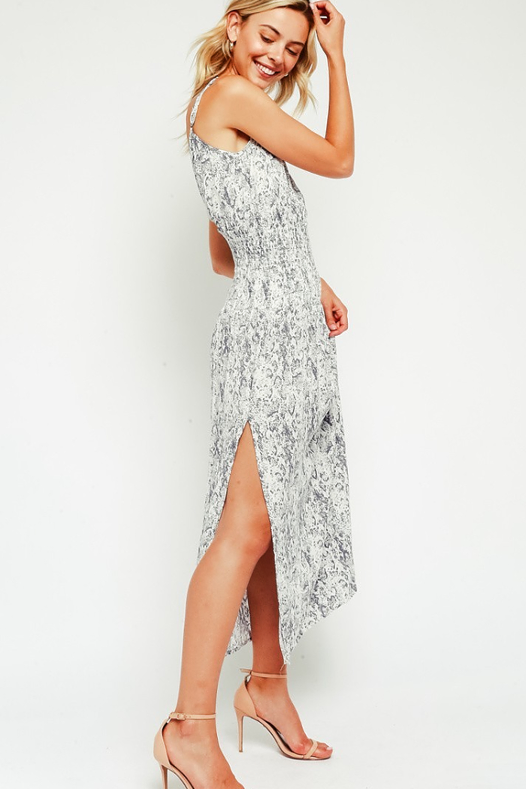 Olivaceous Snake Maxi Dress - Front Full Image