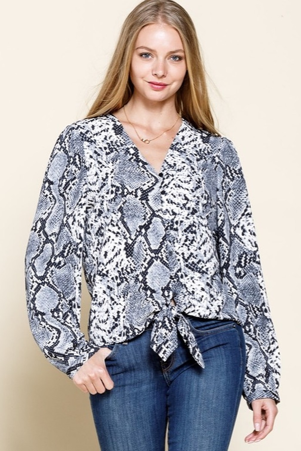 Mittoshop SNAKE PATTERN BUTTON DOWN TIE FRONT BLOUSE TOP C13192 - Main Image