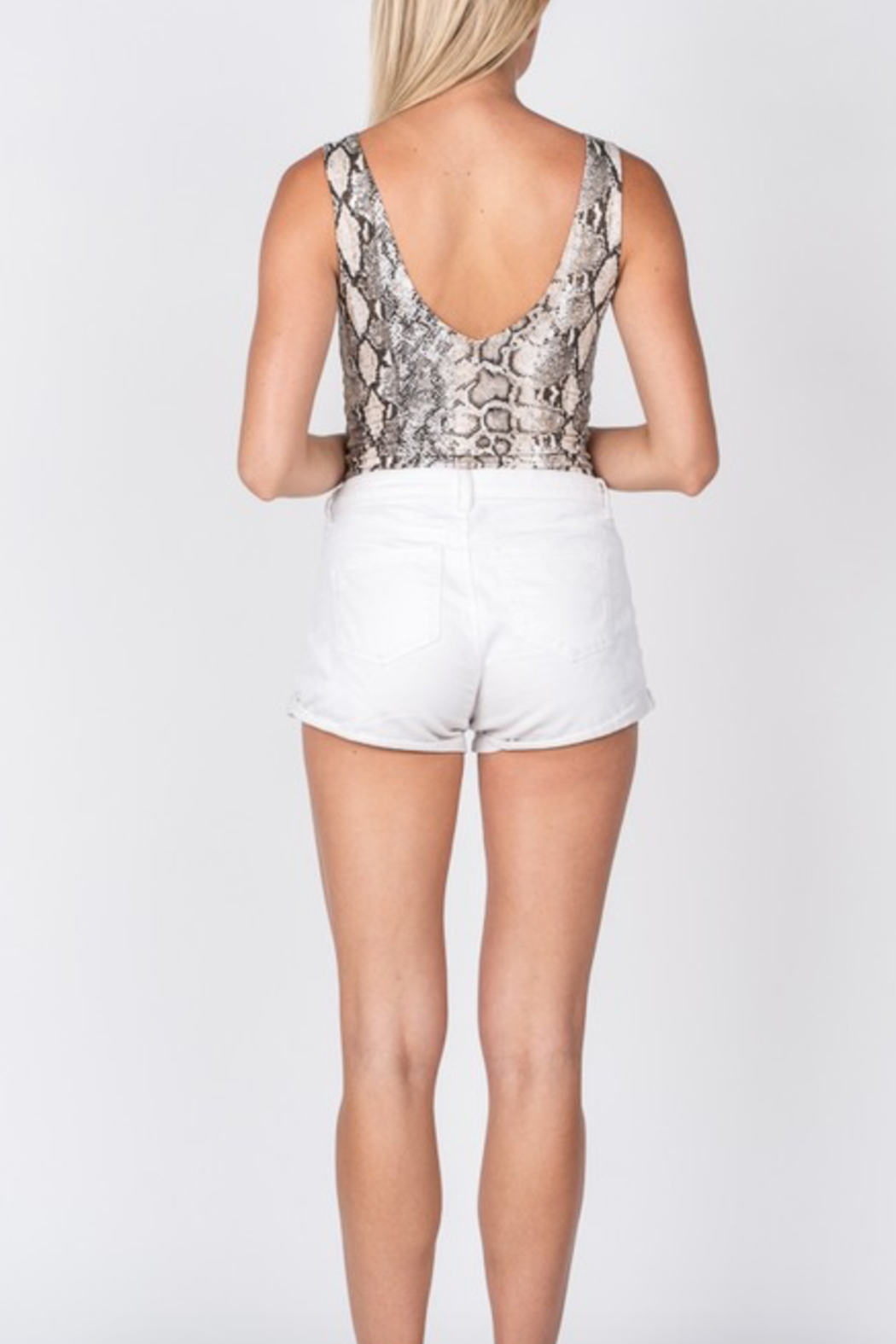 Fore Collection Snake Print Bodysuit - Front Full Image