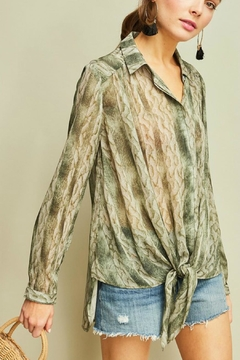 Entro Snake-Print Button-Up Shirt - Product List Image
