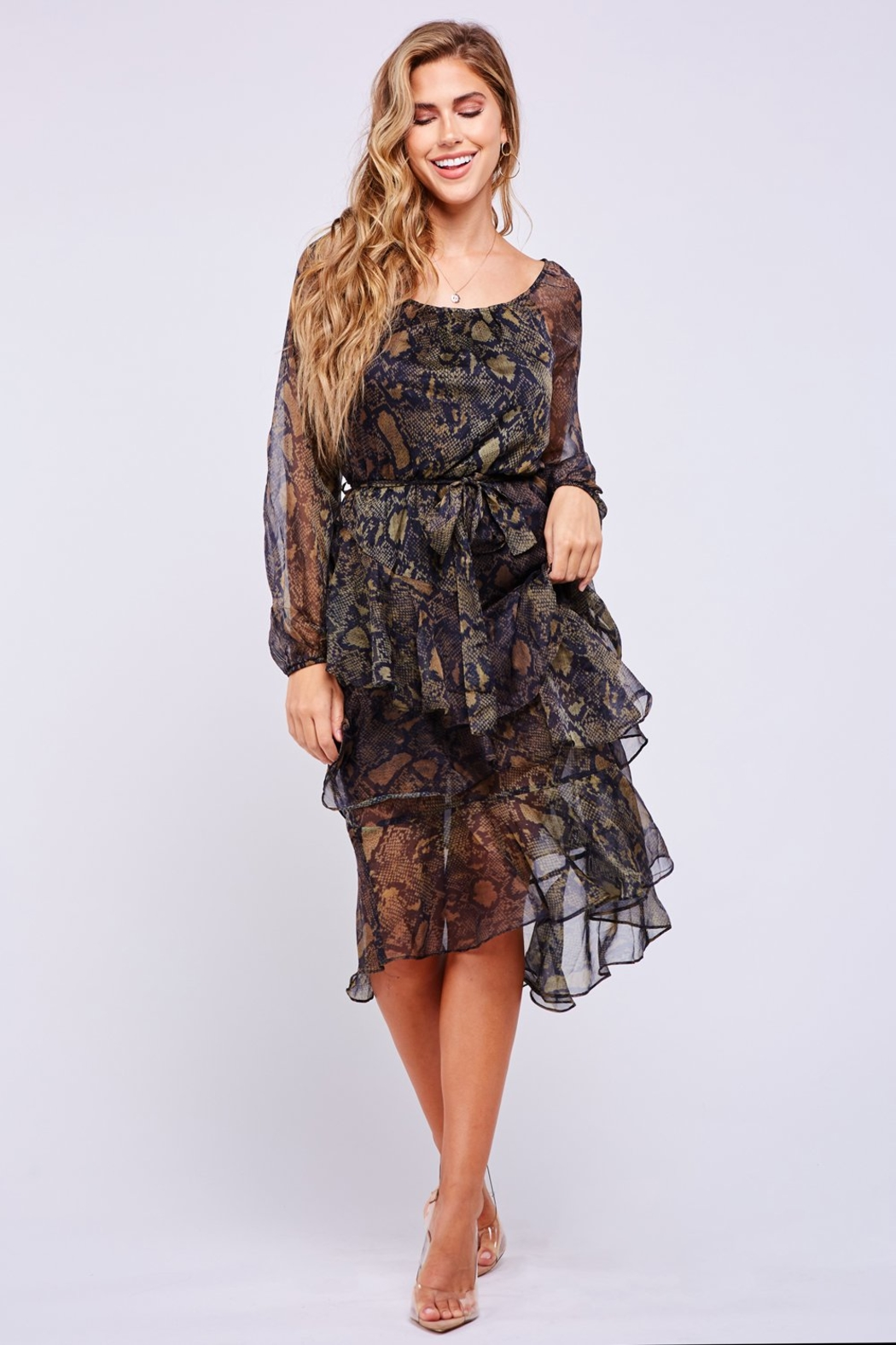 Latiste Snake Print Dress - Front Cropped Image