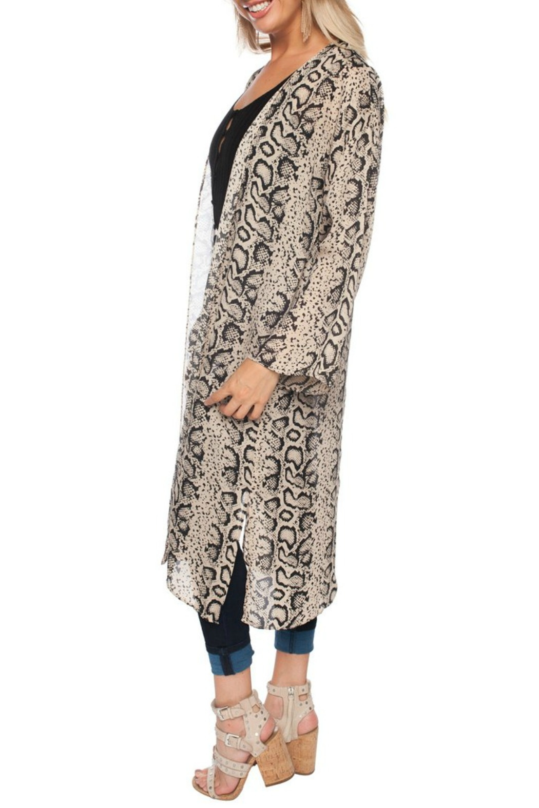 Buddy Love Snake Print Duster - Front Full Image