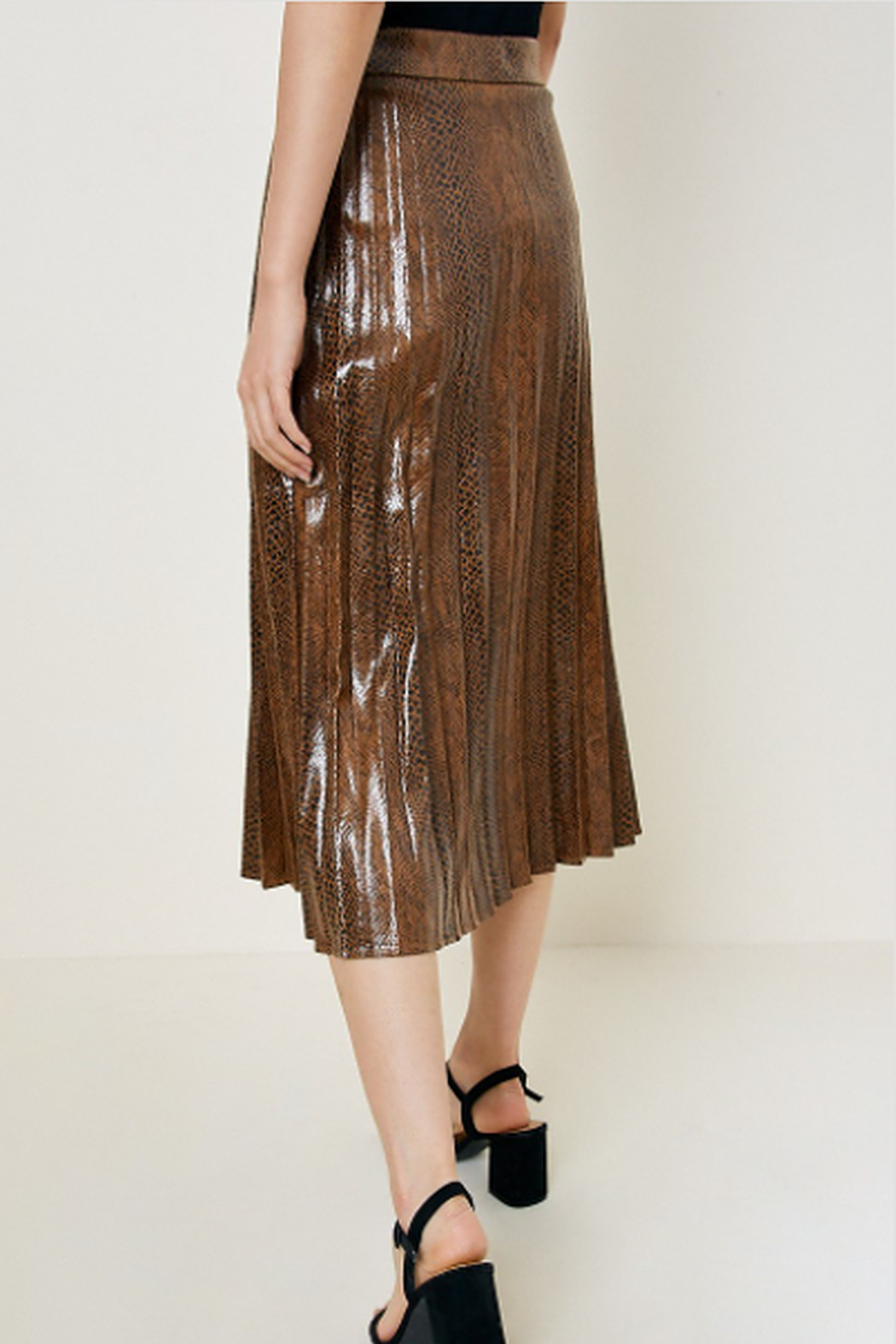 Hayden Los Angeles Snake Print Faux Leather Midi Skirt - Front Full Image