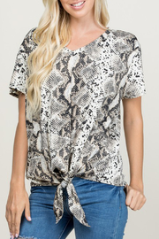 a.gain Snake Print Front Tie Top - Product Mini Image
