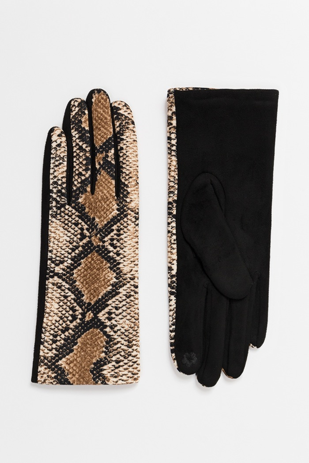 Pia Rossini SNAKE PRINT GLOVES - Front Cropped Image