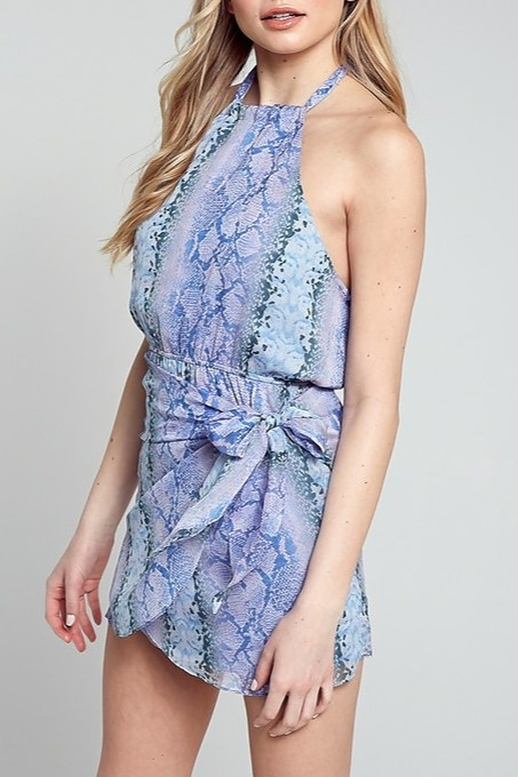 blue blush Snake Print Halter Dress - Front Full Image