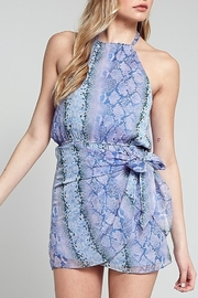 blue blush Snake Print Halter Dress - Front cropped