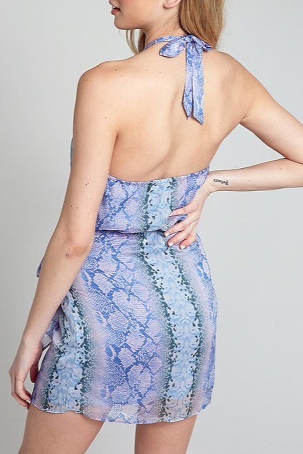 blue blush Snake Print Halter Dress - Side Cropped Image