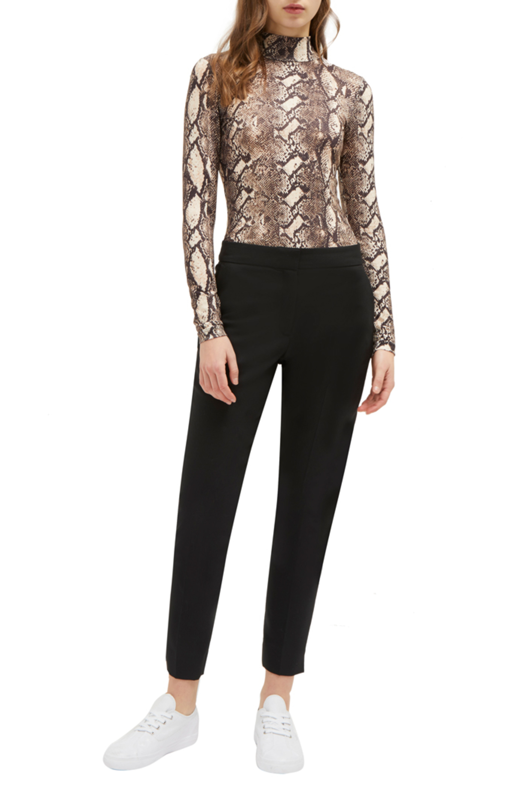 French Connection SNAKE PRINT HIGH NECK TOP - Front Full Image