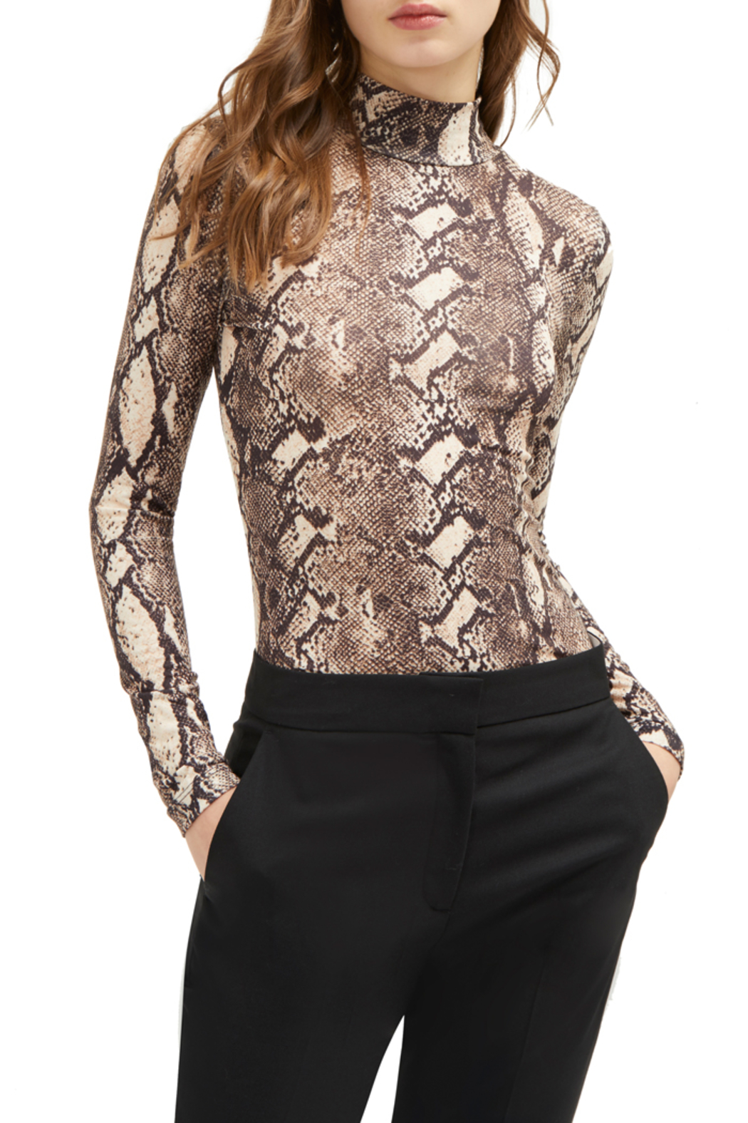 French Connection SNAKE PRINT HIGH NECK TOP - Main Image